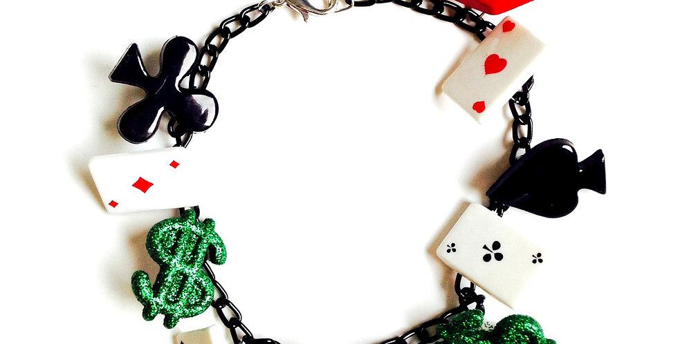 Bracelet LUCKY GIRL, poker, casino