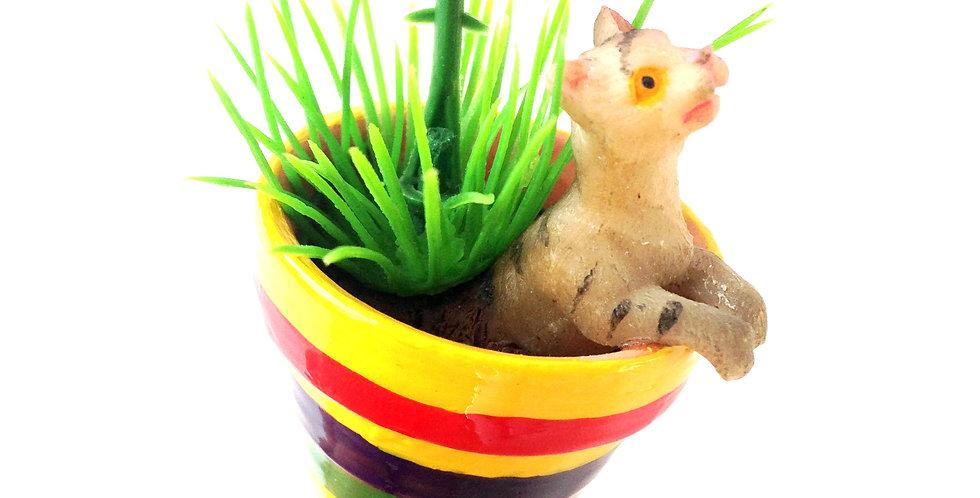 Bague LE PETIT CHAT, miniature, pot de fleur