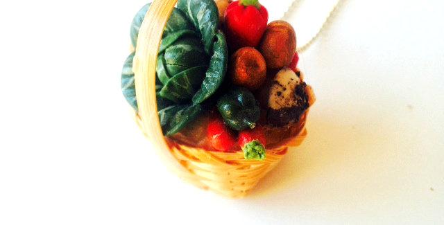 Sautoir Le P'TIT PANIER BIO, légumes miniatures