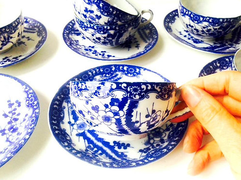 Tasses et soucoupes, 6 pièces ensemble Japonais vintage porcelaine ultra fine