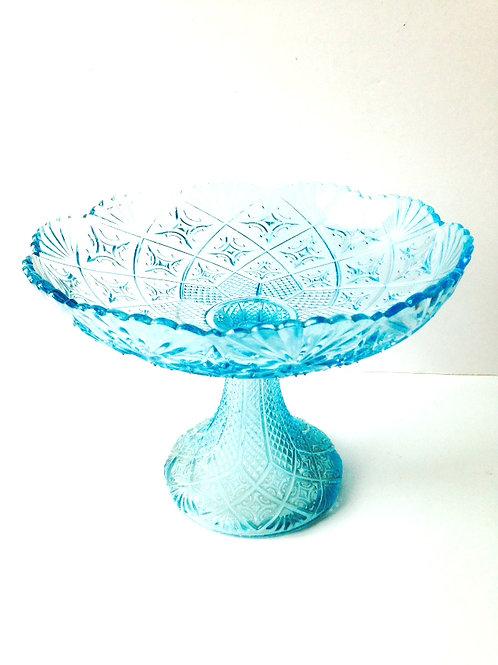 Coupe à fruits ancienne en cristal bleu, motifs complexes, vintage