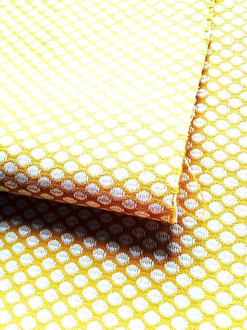 Tissu toile jaune motifs grains de café chutes