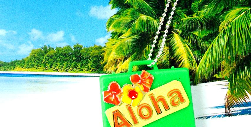 Sautoir ALOHA, valisette verte & palmiers