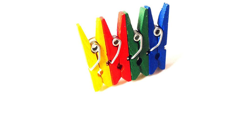 Bague J'EN PINCE, multicolore, pinces miniatures