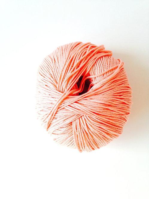1 pelote de fil de coton mercerisé italien ELBA rose saumon pour tricot, crochet