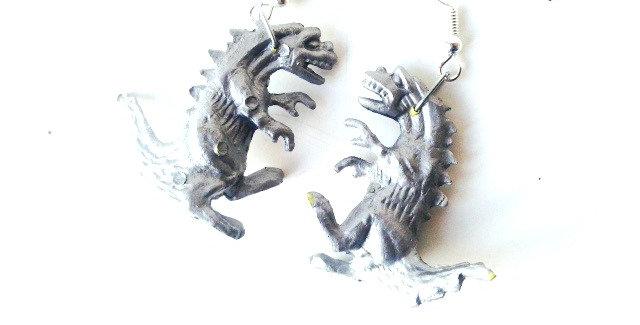 Boucles d'oreilles LES DRAGONS DRÔLES, argentés, calendrier de l'avent N°11