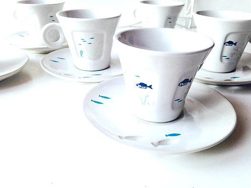 Service à café vintage MALDIVES, poissons coquillages