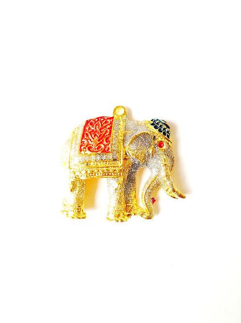 Pendentif Thaï éléphant, pailleté et doré