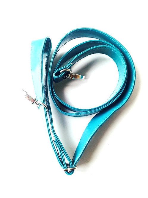 Lanière de sac, vinyle, bleu canard, récup, neuve