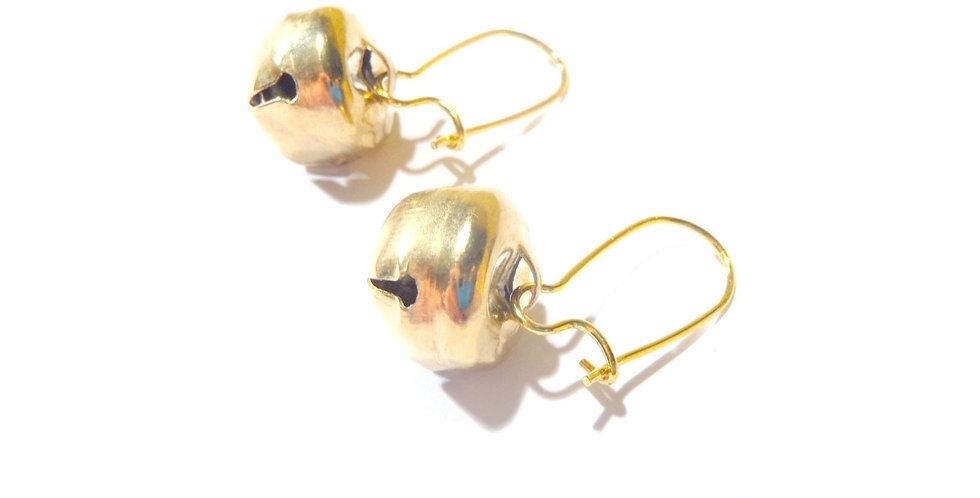 Boucles d'oreilles JINGLE BELLS, dorées, grelots et dormeuses