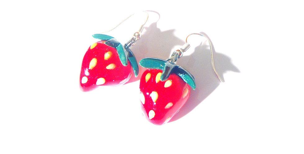 Boucles d'oreilles LES P'TITES FRAISES, miniature