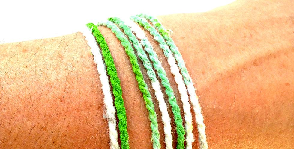 Bracelet GREENS, en coton, avec fermoir