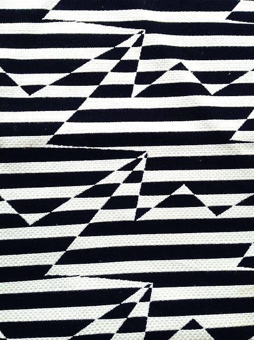 Tissu toile tissée motifs graphiques noir et blanc rayures, chute