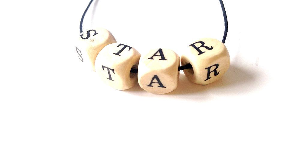 Collier à nouer STAR, lettres, coton ciré