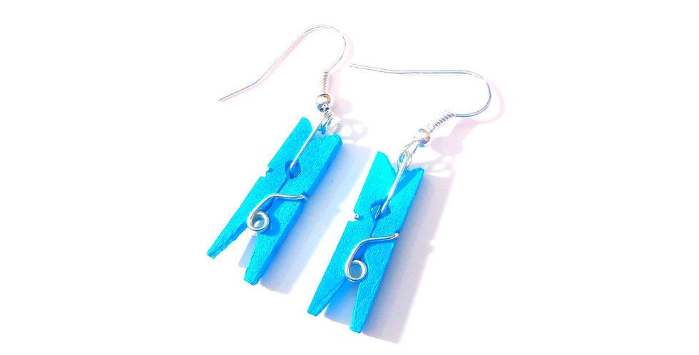 Boucles d'oreilles PINCE MI, bleues