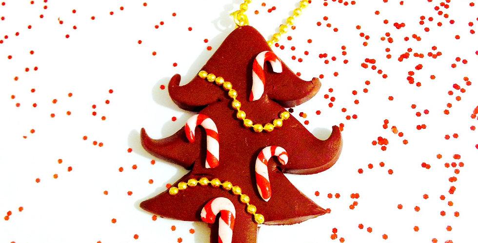 Sautoir LE SAPIN D'ÉPICES, miniature sucre d'orge Noël