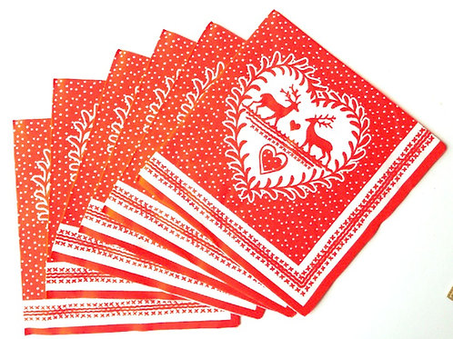 Serviettes en papier décor Noël, cerfs, coeur, rouge pour déco collage ou usage