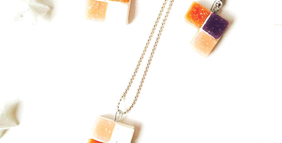 Parure MOSAÏQUE, carrés pastel, par The Sausage