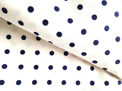Joli coupon de coton motif pois BLANC / BLEU MARINE 158 X 100 cm