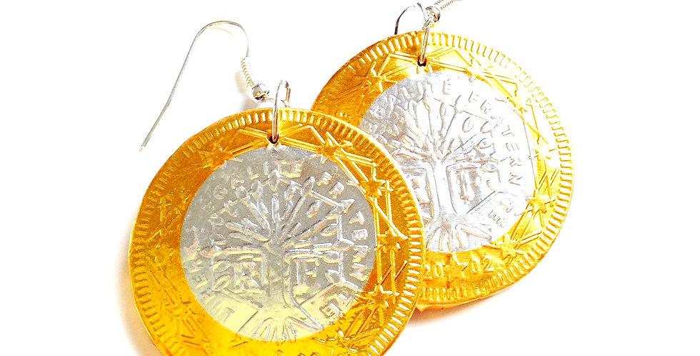 Boucles d'oreilles LES EUROS, pièces