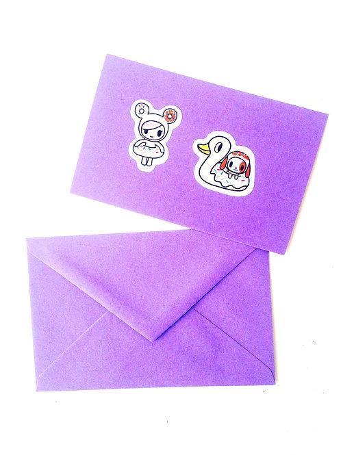 Carte papier mauve stickers, enveloppe assortie