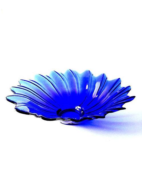 Plateau à fruits bleu transparent en verre, design