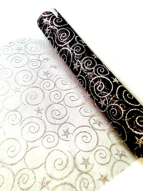 tissu de fête gaze noire volutes argentées paillettes vue oblique