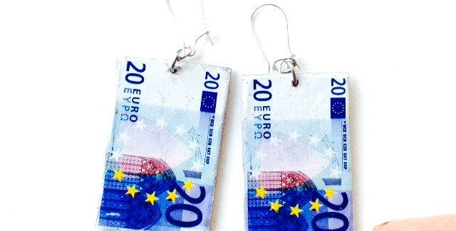 Boucles d'oreilles LES EUROS, miniatures, 20 euros par The Sausage