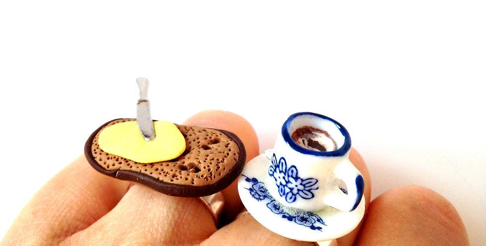 Bague double LA TARTINE DE PAIN BIS, tartine pain noir et chocolat