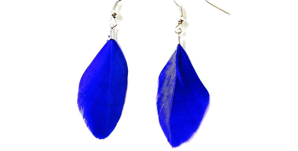 Boucles d'oreilles TRUE BLUE, mini plumes bleues