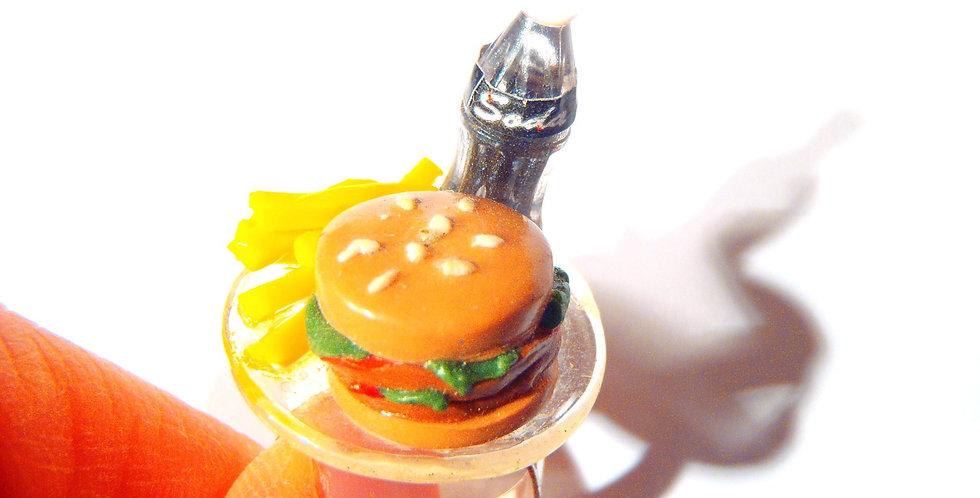 Bague LA DIÈTE AMÉRICAINE, hamburger frites miniature