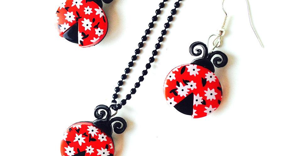 Parure COCCI-SIXTIES -- coccinelles rouges et fleurs des champs