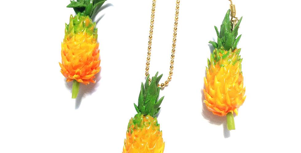 Parure MADAME ANANAS, collier et boucles ananas miniatures