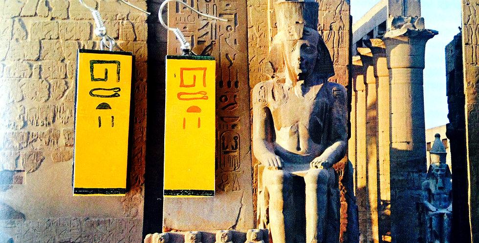 Boucles d'oreilles LOUXOR, rectangulaires, hiéroglyphes