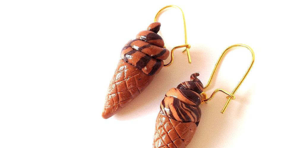 Boucles d'oreilles GLACES ITALIENNES, miniatures chocolat / caramel