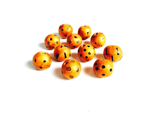 Lot de 11 perles dorées faites main pâte polymère, peinte