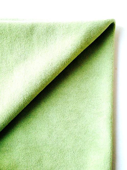 Tissu -- Petit coupon de tissu vert éponge extensible