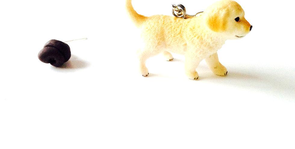 Boucles d'oreilles BLANC COMME NEIGE, petit chien blanc labrador trop mignon