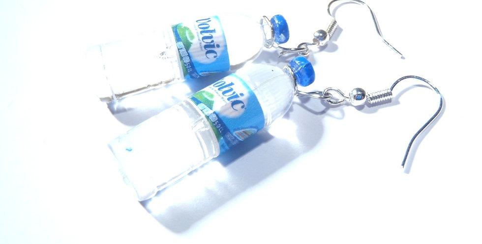 Boucles d'oreilles UNE VIE SAINE, mini bouteilles d'eau