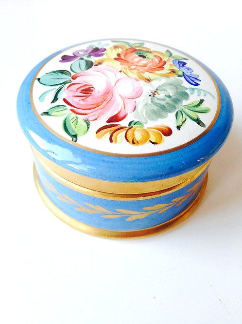 Boîte à bijoux en porcelaine bleue, vintage