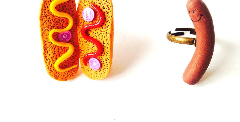 Alliances fantaisie, mariage : Bague Saucisse et Pain de Hot Dog, miniatures