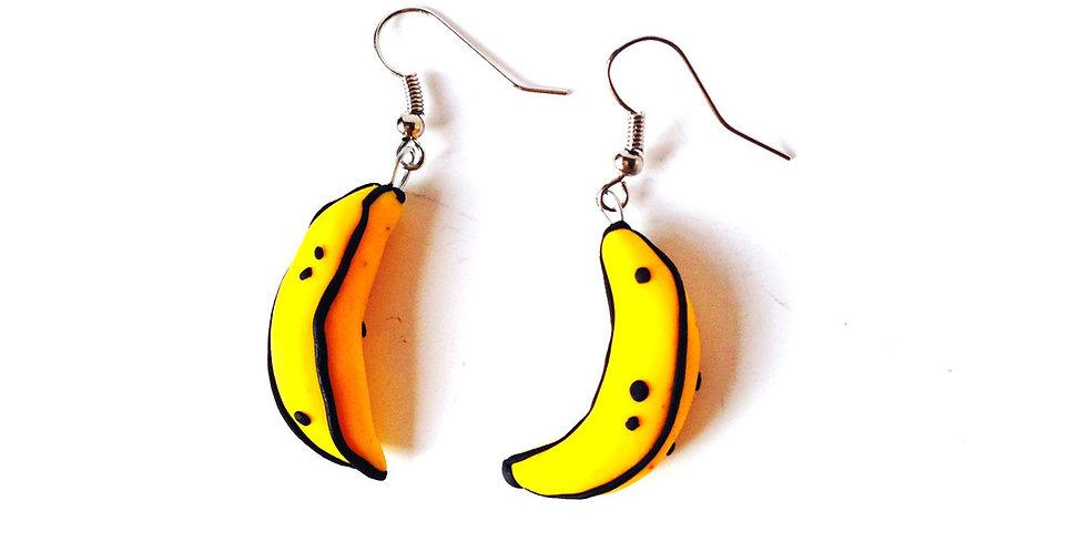 Boucles d'oreilles JOSÉPHINE BAKER, bananes miniatures en pâte fimo