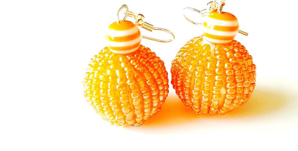 Boucles d'oreilles BEAUTÉ, ABRICOTÉE, perles miyuki
