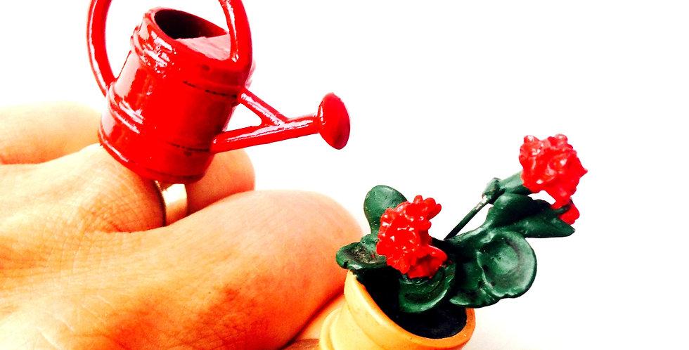 Bague double BELLE PLANTE ES-TU EST ARROSÉE ? Arrosoir miniature, rouge
