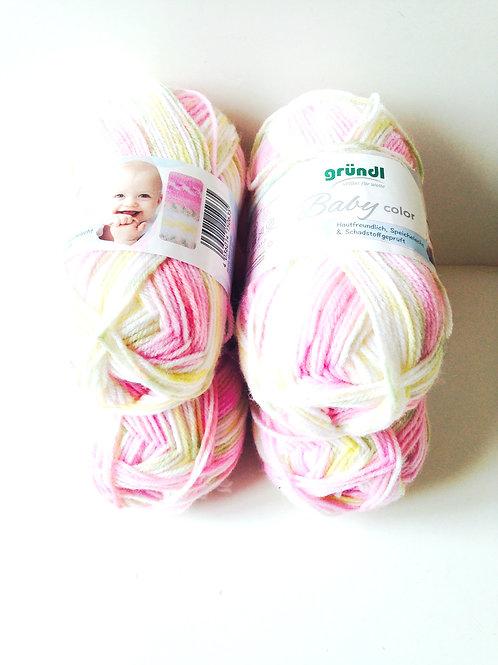 200 grs de laine oeko-tex 70% polyacrylique 30% polyamide rose / jaune / blanc