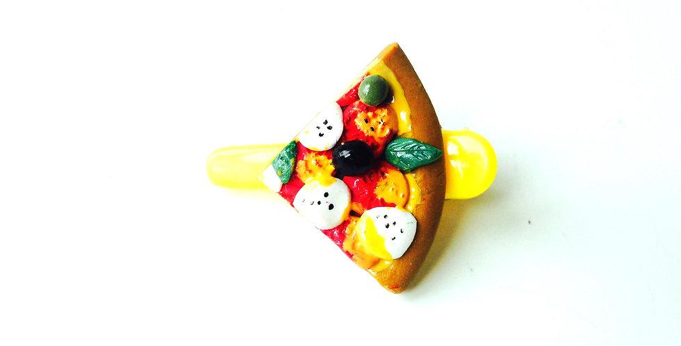 Barrette crocodile --PART de PIZZA, miniature, jaune. Pâte polymère par The Saus