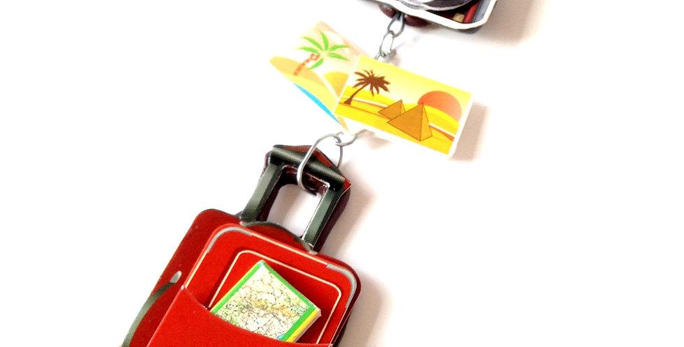 Sautoir LE BEAU VOYAGE, valise / carte