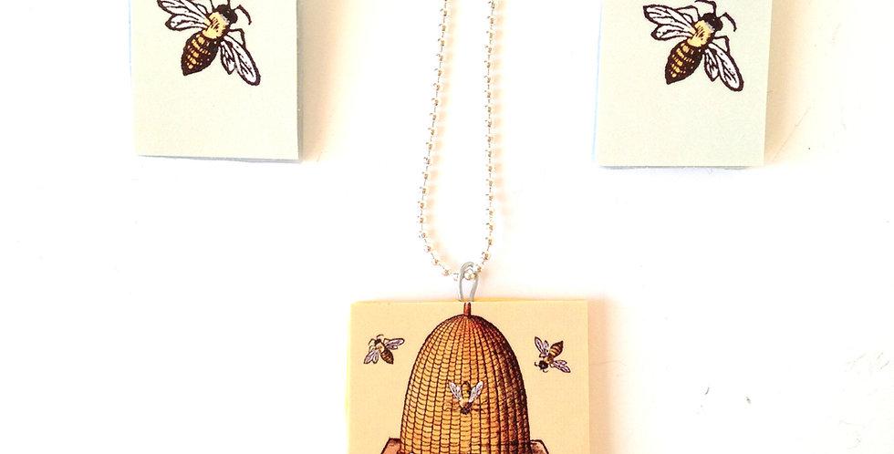 Parure LA RUCHE, abeilles et ruche