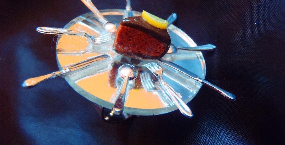 Bague LA DERNIÈRE PART, gâteau au chocolat miniature