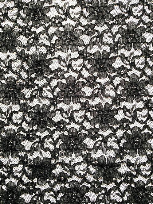 Dentelle noire, coupon non élastique, fleurs 110 x 233 cm